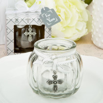 Cross Themed Clear Glass Round Globe Candle Holder From White Dream