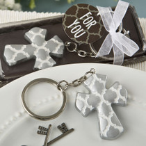 Silver Cross Key Chain With A Hampton Link Design From White Dream