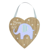 Petit Cheri' Collection MDF Heart Plaque With Elephant Blue