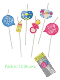 12 Assorted Baby Shower Straws