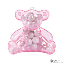 Plastic Pink Teddy Bear Containers