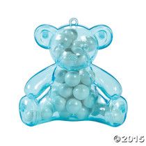 Plastic Blue Teddy Bear Containers