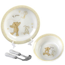 Button Corner Ceramic Baby Set Bowl Plate Fork Spoon