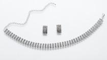 Rhinestone Band Necklace Ear Set