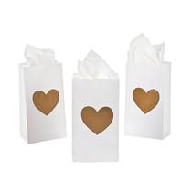 24 x Paper Mini Gold Heart Treat Bags