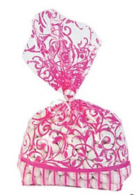 12 x Hot Pink Swirl Cellophane Bags