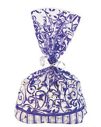 12 x Purple Swirl Cellophane Bags