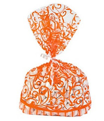 12 x Orange Swirl Cellophane Bags