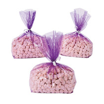 12 x Purple Cellophane Goody Bags