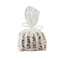 12 x White Striped Cellophane Bags