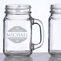 Engraved Set of 2 Mason Jar Glass Mugs