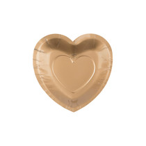 25 x Gold Heart Shaped Dessert Plates