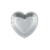 25 x Silver Heart Shaped Dessert Plates