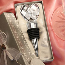 Chrome Wine Bottle Stopper - Crystal Heart Design