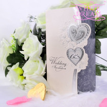Personalised Hearts & Rings Wedding Invitations