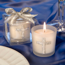 Silver Cross Themed Candle Favours