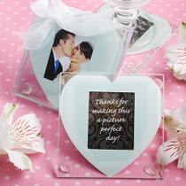 Heart Design Glass Photo Coaster Favours