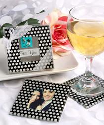Photo Coaster Sets With Polka Dots!
