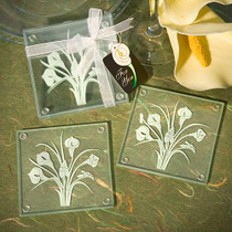 Calla Lily Bouquet Design Glass Coaster Sets Set of 2