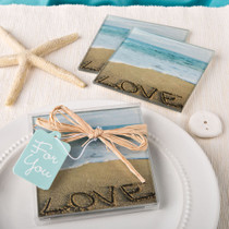 Beach Love Themed Set of 2 Glass Coasters From White Dream