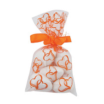 25 x Mini Orange Hearts Cellophane Bags