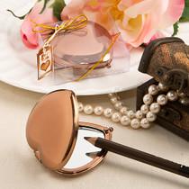 Bronze Metallic Heart Compact Mirror