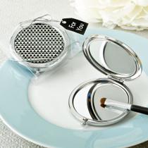 Modern Silver Graphic Design Compact Metal Mirror