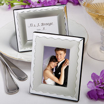 Two Tone Silver Metal Place Card Photo Frames