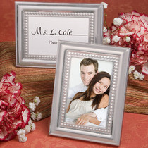 Matte Silver Beaded Metal Place Card Photo Frames