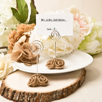 Burlap Rose Design Place Card Holder And Photo Holder