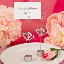 Love Themed Double Heart Design Place Card Holder Or Photo Holder