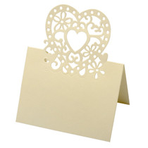 Pack of 10 Heart Design Place Card Ivory