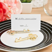 Ornate Shiny Gold Skeleton Key Place Card Holder