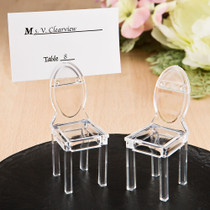 Miniature Clear Acrylic Formal Reception Chairs Place Card Holder