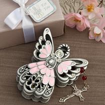 Pink And Pewter Color Angel Design Trinket Box