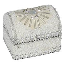 5cm Glitter And Beads Domed Trinket Box White