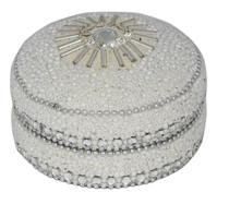 8cm Glitter And Beads Round Trinket Box White