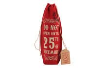 Do Not Open Until 25th December. . . . ' Red Hessian Bottle Bag