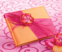 Hot Pink Orange Guest Book