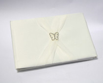 Butterfly Satin Guest Book With Organza Sash - Ivory