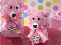 Cute And Cuddly Pink Teddy Bear Towel Favour