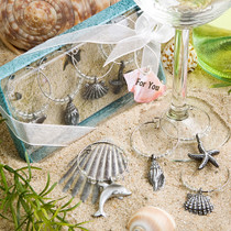 Unique Beach Themed Wine Charms | Shells Starfish…