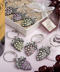 Glistening Grape Design Wine Charm Sets