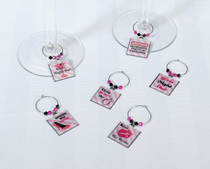 Set of 6 Bachelorette Wine Charms
