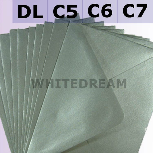 Silver Metallic Envelopes - C7, C6, C5, DL, 5'x7' Sizes