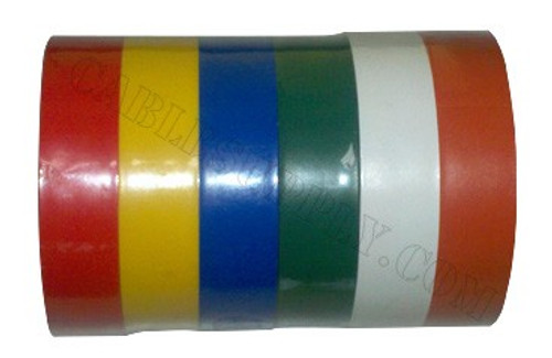 Color-Coding Vinyl Electrical Tape 6 Pack  1/2 inch wide and 20 feet long (Professional Grade)