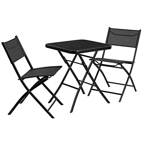Square Glass Table w/ 2 Chairs TLH-137-SQ-GG