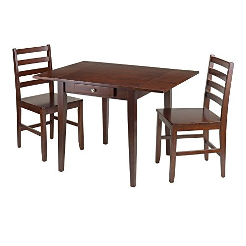 Winsome Wood Hamilton 3-Piece Drop Leaf Table with 2-ladder back Chair