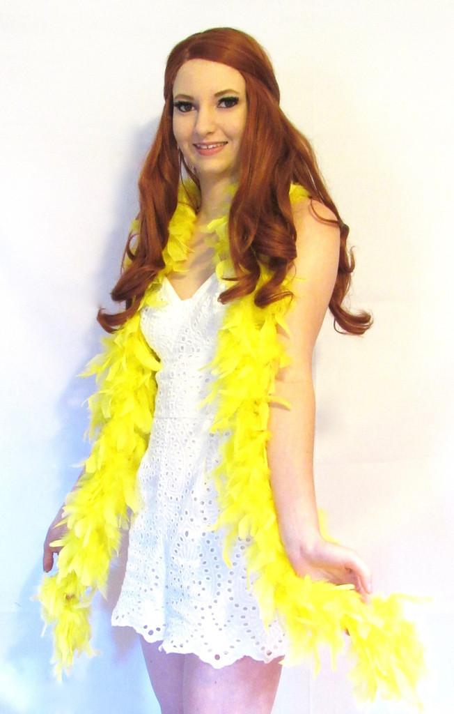 Yellow Feather Boa heavy weight chandelle  Lamplight Feather
