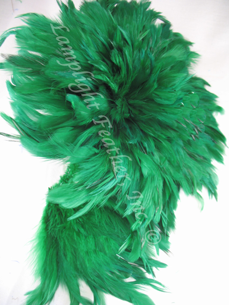 Rooster Feathers Schlappen, 3-5 inch, dyed GREEN, per FOOT